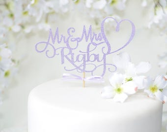 Mr and Mrs Lavender Wedding Cake Topper ~ Custom wedding cake topper for wedding ~ purple wedding cake topper ~ lavender wedding cake topper