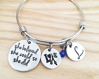 Hair stylist gift - hand stamped - she believed she could so she did - cosmetology graduation gift - Personalized hairdresser jewelry