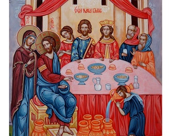 The Wedding at Cana, Hand painted orthodox icon, Byzantine orthodox icon, Orthodox art, Made to order
