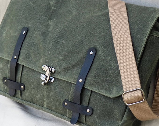 Waxed Canvas Messenger Bag/ Interior Laptop Sleeve / Leather Straps