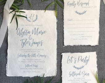 WEDDING INVITATIONS|Set #501 (Deckled Edge Wedding Invitations, Rustic Invitations, Handmade Paper)