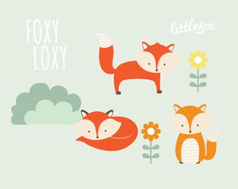 Foxes - Clip Art - Instant Download - EPS PNG