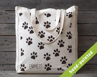 Personalized Dog Tote Bag / Dog Lover Gift/ Dog Bag/ Dog Paws/  Dog Paw/Dog Canvas Tote Bag/ Eco Bag/ Hand painted Tote Bag/ Dog Gifts