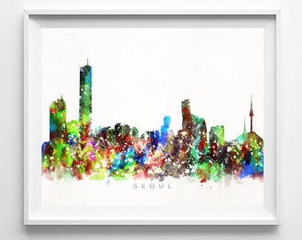 Seoul Skyline Print, South Korea Print, Seoul Poster, Korea Cityscape, Watercolor Painting, Wall Decor, Valentines Day Decor, Valentines Day