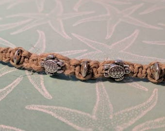 Hemp Cord Bracelet or Anklet with sea turtle beads PERFECT FOR SUMMER!