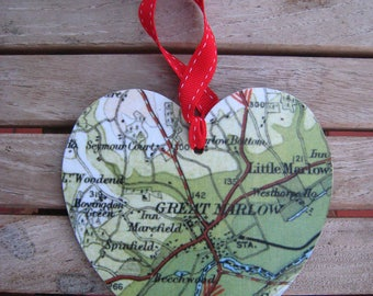 CHRISTMAS Personalised, Hand-Made, Vintage MAP Wooden Hanging HEARTS!