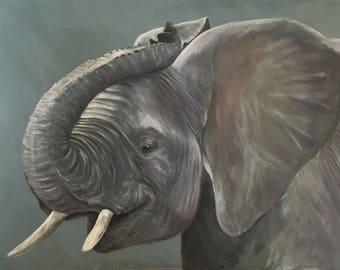 Lucky Elephant painting - huge Original Cassis Art of an elephant