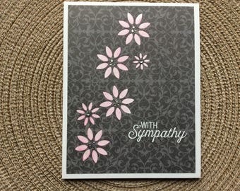 Handmade Greeting Cards:  With Symphathy Card. Pink flowers