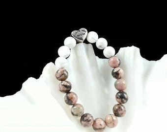 I Love You Mom Bracelet -Rhodonite & Howlite Bracelet, 8mm, Rhodonite for Mom, Howlite for Mom, Gift for Mom, Bracelet for Mum