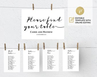 Printable Wedding Seating Chart Template, Wedding Table plan  | Instant Download | DIY You print |  Calligraphy