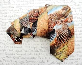 Pheasant print tie, ties for men, shooting tie