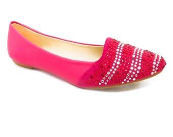 Women man made Fuchsia ethnic indian pink Rhinestone Ruby Flats jutti shoes almond toe loafers slip ons footwear sz 7.5, sz 7