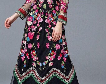 Women maxi dress, floral embroidered retro dress, vintage dress, black, multi-color, Small, Medium, Large, long sleeve, Mexican dress