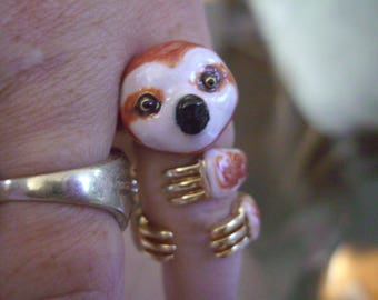 BABY SLOTH ring. Hand enameled. 3 piece set. Free shipping! So cute!