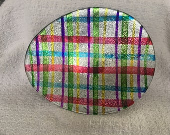 Egg Shaped Fused Glass Plate, Plaid Glass Plate, Silver Back,  Hand Painted, China
