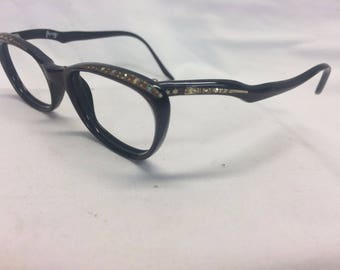 Vintage Cat Eye Eyeglasses Frames Authentic Raybert Jeweled New Old Stock R6