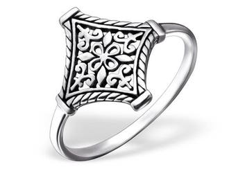 Celting silver square patterned ring, oxidized