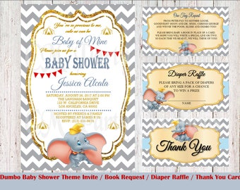 Dumbo Baby Shower Invitation, Book Request, Diaper Raffle, Thank You Cards