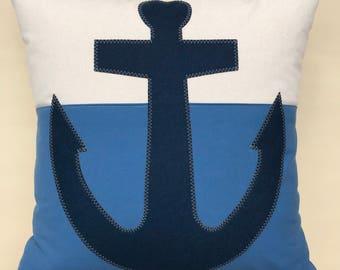 Navy Blue Anchor Pillow, Beach House, color block pillow, Decorative Throw Pillow, Coastal Home, Nautical Decor, anchor, The Salty Cottage