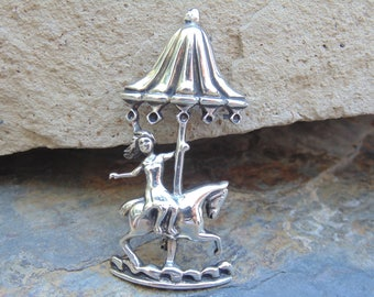 Charming Vintage Girl Riding Side Saddle on a Carousel Horse Brooch / Pin