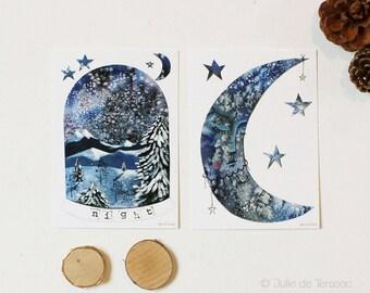 """2 postcards """"Wild"""" and éSur la glace"""", 10,5x14,7cm"""