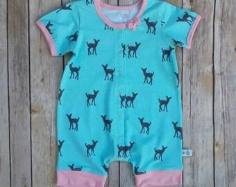 Baby Girl Cotton Romper, Infant Girl Short Sleeve Onesie, Infant Girl Summer Clothes, Baby Girl Cotton Jumper, Baby Girl Overalls