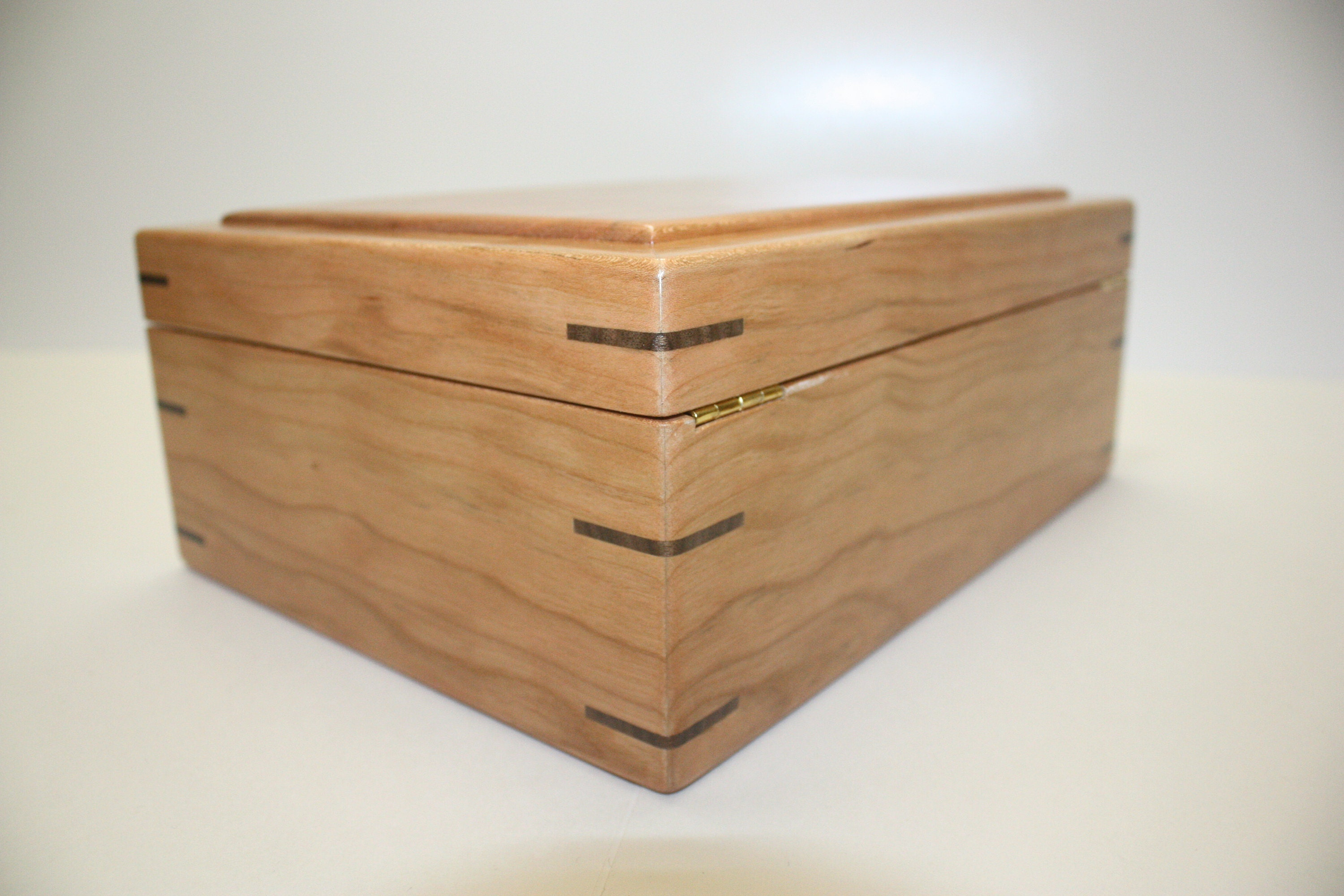 Cherry Wood Box with Hinged Lid For Sale