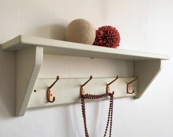 Reclaimed pine Coat hook shelf with copper hooks 65cm