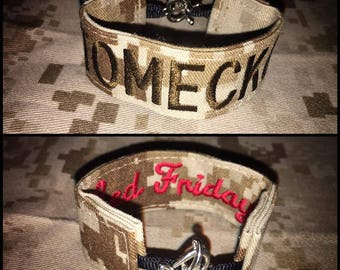 Red Friday Name Tape Bracelet (Any branch!) Army Navy Air Force USMC Coast Guard