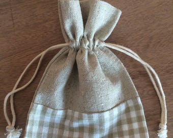 LINEN + polka dot 10x14cm lined bag