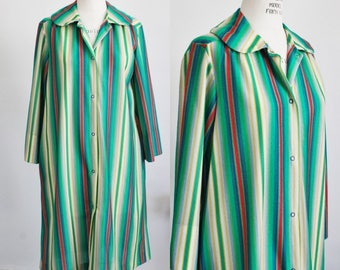 CLEARANCE: Vintage 1960s Striped Robe / 60s Lingerie / Vintage Loungewear / 60s Housecoat