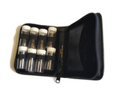 Vintage Noymer Genuine Leather Pill Vitamins Travel Size Containers 1980s With 8 Pill Vials and Medical Card Slot