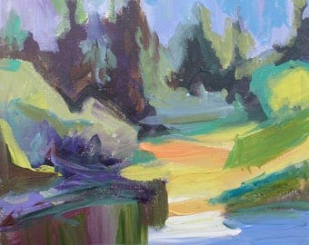 Pond Abstracted Landscape Taos New Mexico contemporary fine art by Tracy Haines