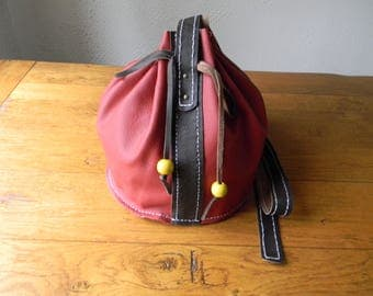 Handmade red leather shoulder bag