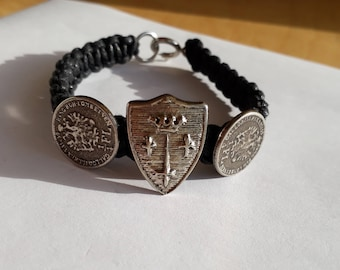 Biker Bracelet Crest & coin Men's Jewelry motorcycle, handmade textile black/Metal color Altnickel men's bracelet pour homme