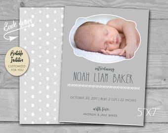 Photograph Simplistic Baby Birth Announcement | Introducing Newborn | Printable PDF and JPG
