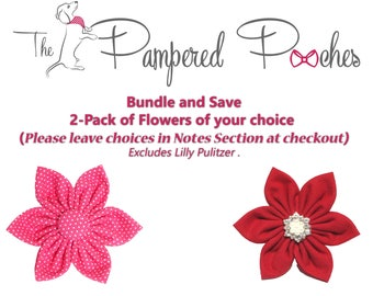 BUNDLE and SAVE, 2Pack Flower ONLY for Dog collar, collar flower, pet collar flower, wedding flower, flowers for dog collars