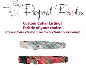 CUSTOM COLLAR LISTING, Dog collar, seersucker, wedding