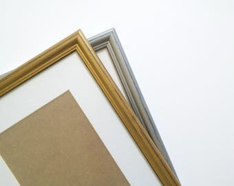Shabby chic frame rustic photo frame gold frames A4 silver wood frame 21x30 frame hand painted home decor wall decor solidwoodshop