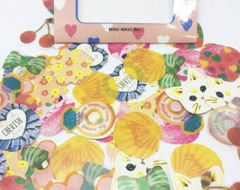 Set of 70 Kitsch Stickers for Scrapbooking and Planners