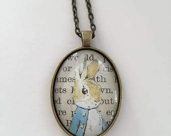 Rabbit necklace, peter rabbit necklace, vintage jewellery, statement necklace, vintage necklace, book page necklace,