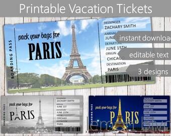 Surprise Paris Trip Ticket | Vacation Tickets Instant Download | Boarding Pass | Printable Trip Ticket Surprise | Trip to Paris Ticket