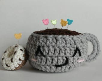 Coffee and Donut pin cushion/desk accessory