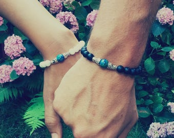Set of 2 love couple bracelets for him and her - Matching couple bracelets - Long distance relationship bracelet - Gift for couple