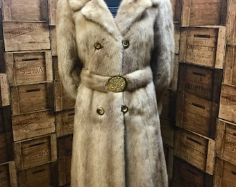 Gold mink coat, full length vintage coat, winter coat, cosy vintage coat, 1950 vintage coat, London mink coat, belted mink coat, honey mink.