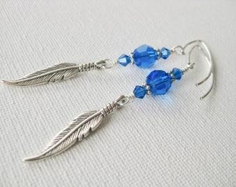 Feather Drop Earrings in Capri Blue