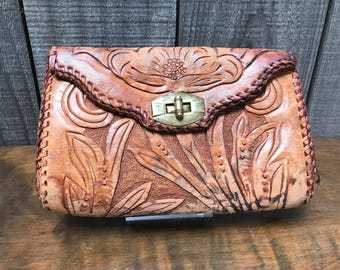 Distressed Vintage Hand Tooled Leather Mini Clutch