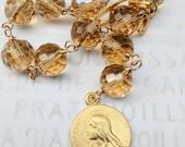 Chaplet - Maria Magdalena Taupe Crystal - 18K Gold Vermeil - 18mm