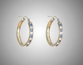 14k diamond & blue sapphire hoop earrings