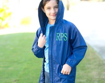 Boys Hooded Rain-jacket - Navy Monogram Jacket - Blue Hooded Jacked - Monogram Raincoat - Kids Coat - Kids Rain Jacket